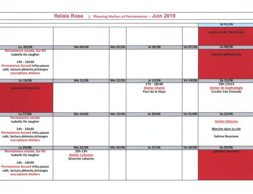 Planning des ateliers – Juin 2019
