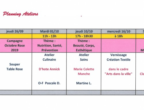 Planning des Ateliers Roses